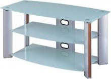 "Lite Source Inc. LSH-5609ALU - 3-TIER TV STAND, ALUMINUM/WHITE GLASS, 46""Lx23""Wx23""H"