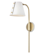 Hudson Valley HL174201-AGB/WH - 1 Light Wall Sconce With Plug
