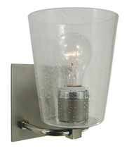 Framburg 4851 SP/PN/CS - 1-Light Satin Pewter/Polished Nickel/Clear Seedy Glass Mercer Bath Sconce