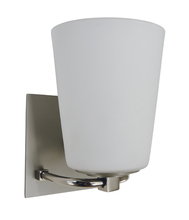Framburg 4851 SP/PN/WH - 1-Light Satin Pewter/Polished Nickel/White Glass Mercer Bath Sconce