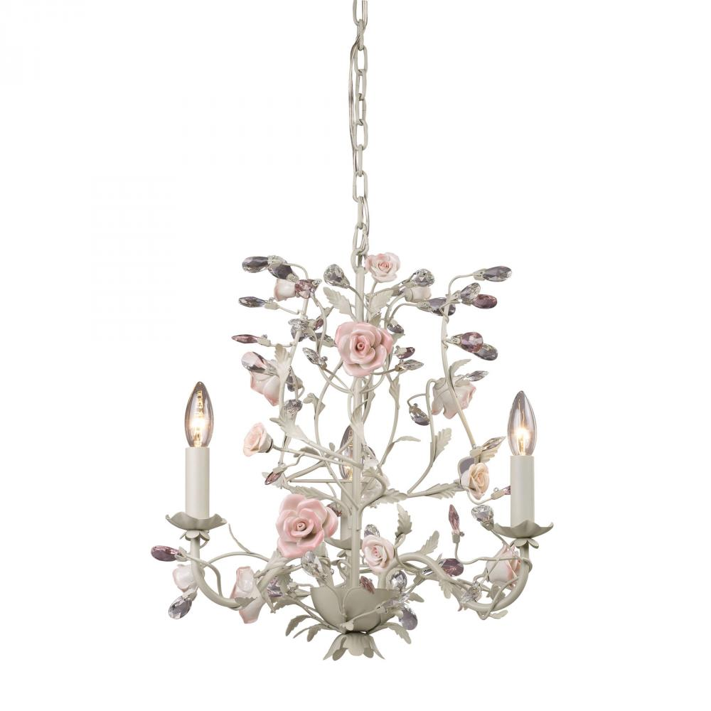 Heritage 3 Light Chandelier In Cream With Pink P