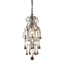 ELK Lighting 12013/1AMB - Opulence 1 Light Pendant In Rust With Amber Crys