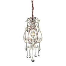ELK Lighting 12013/1CL - Opulence 1 Light Pendant In Rust With Clear Crys